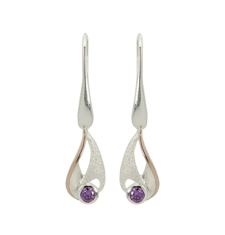 Satin Amethyst Earrings - SE02