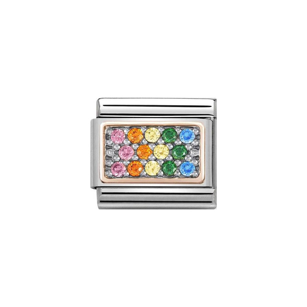 Nomination Classic Rose Gold & Rainbow CZ Rectangle Charm