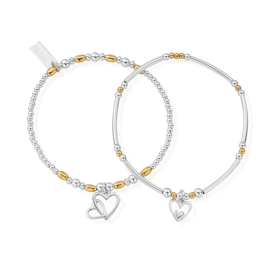 Silver and Yellow Gold Mixed Double Devotion Set Of 2 Bracelets