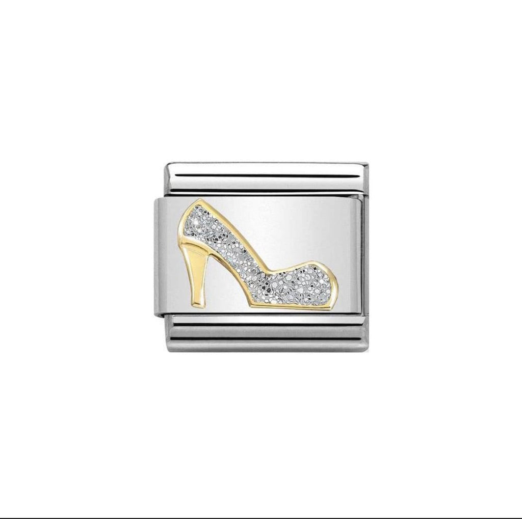 Nomination Classic Gold & Silver Glitter High Heel Shoe Charm