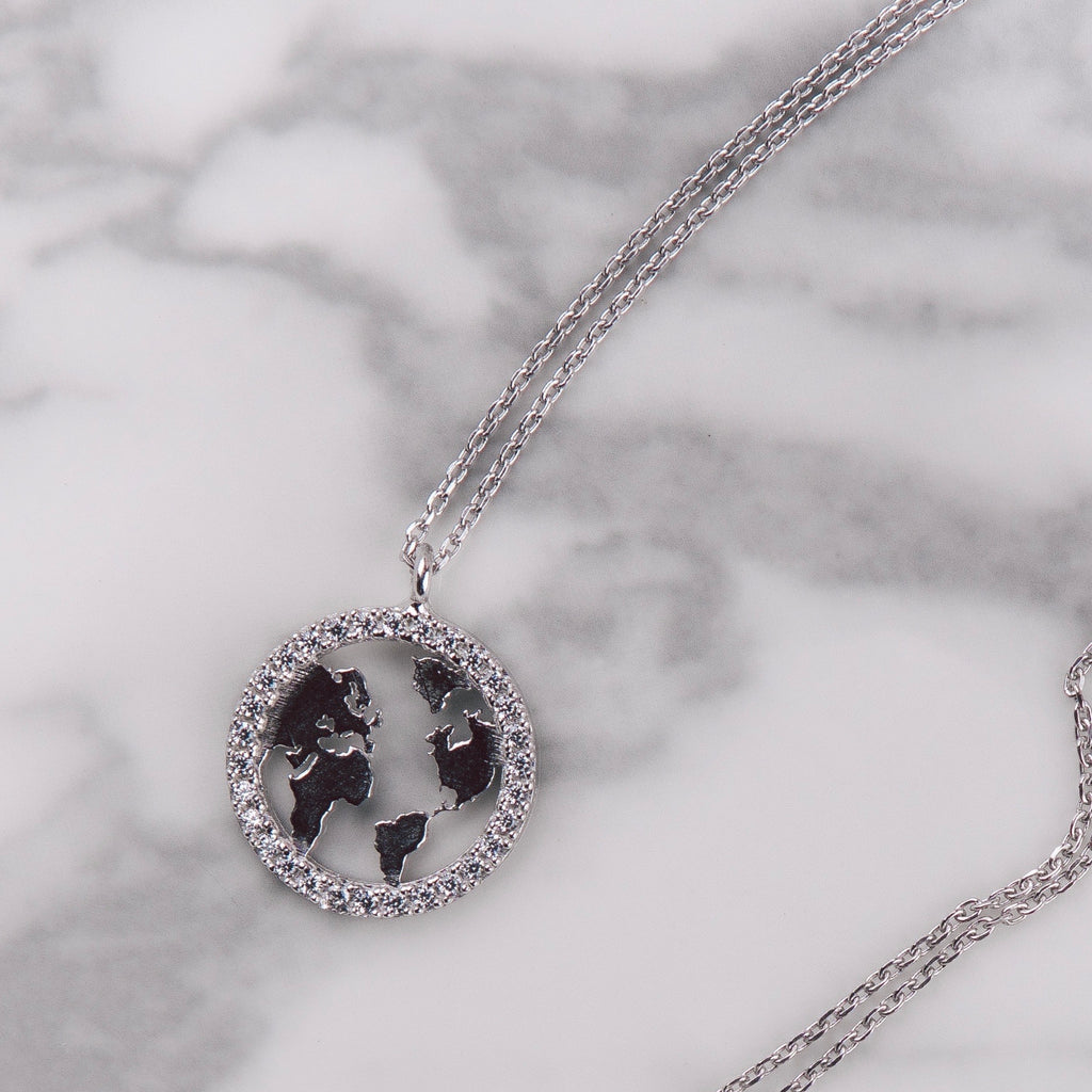 Silver Earth Globe Necklace