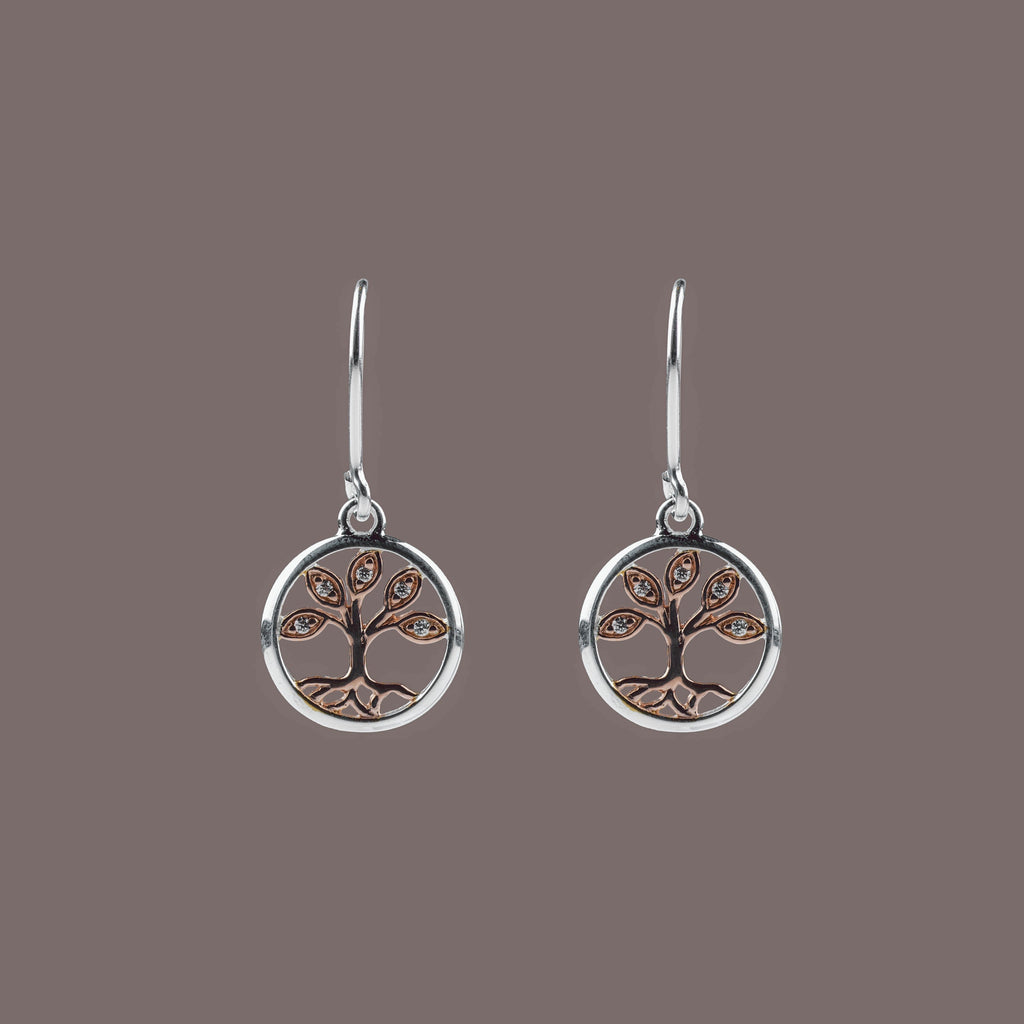 Silver & Rose Gold Tree of Life Drop Earrings