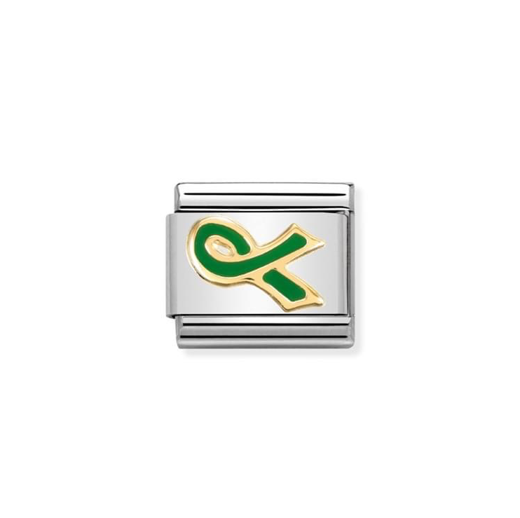 Nomination Classic Gold & Green Bow Ribbon (Mental Health Awareness) Charm
