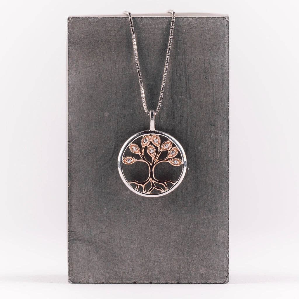 Silver & Rose Gold Tree of Life Necklace