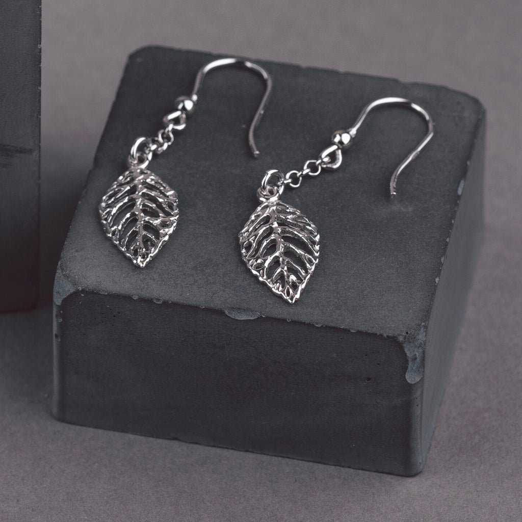 Silver Natural Leaf Drop Earrings