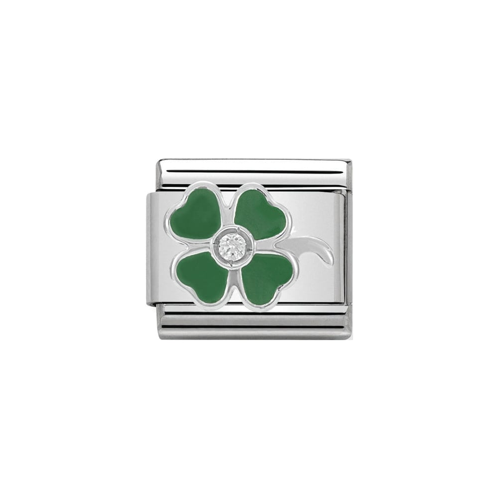 Nomination Classic CZ Silver and Green Clover Charm - S&S Argento