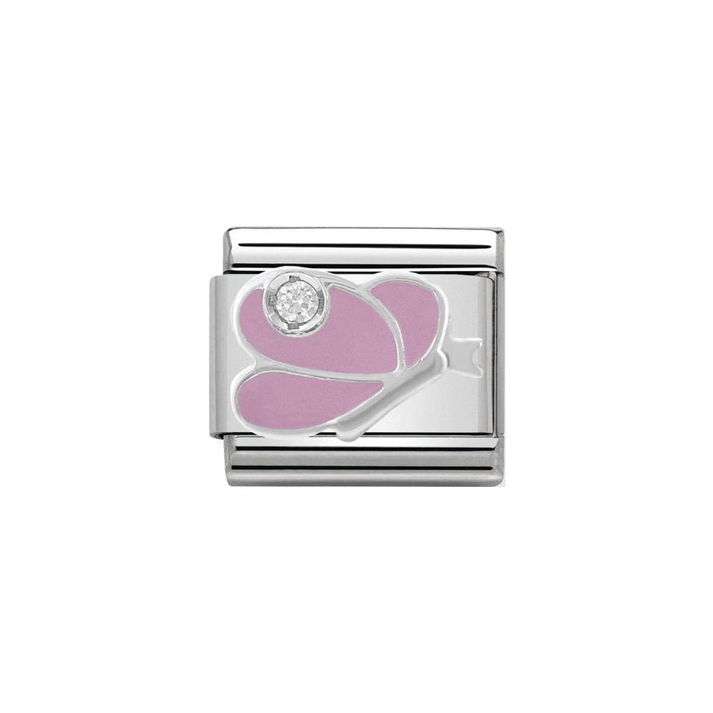 Nomination Classic CZ Silver and Pink Butterfly Charm - S&S Argento
