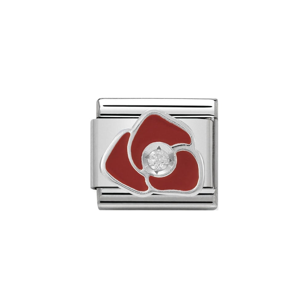 Nomination Classic CZ Silver and Red Rose Charm - S&S Argento