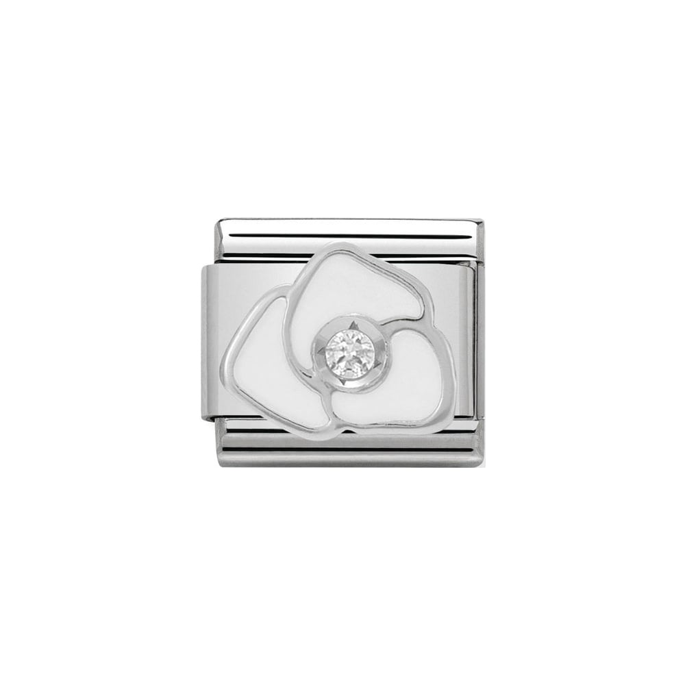Nomination Classic CZ Silver and White Rose Charm - S&S Argento