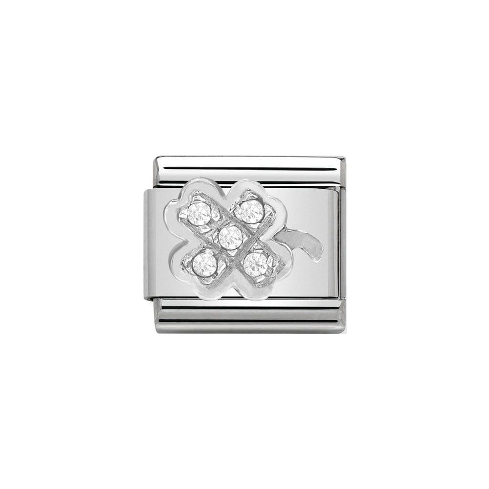 Nomination Classic CZ Silver Clover Charm - S&S Argento