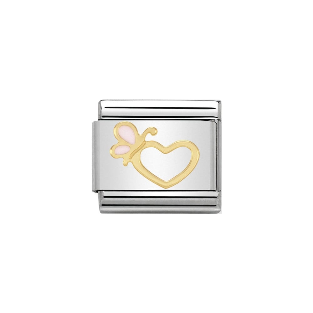 Nomination Classic Gold Enamel Heart With Pink Butterfly Charm - S&S Argento