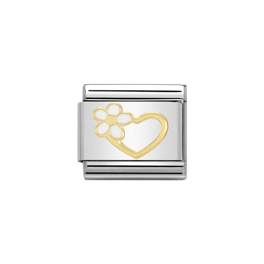 Nomination Classic Gold Enamel Heart With White Flower Charm - S&S Argento