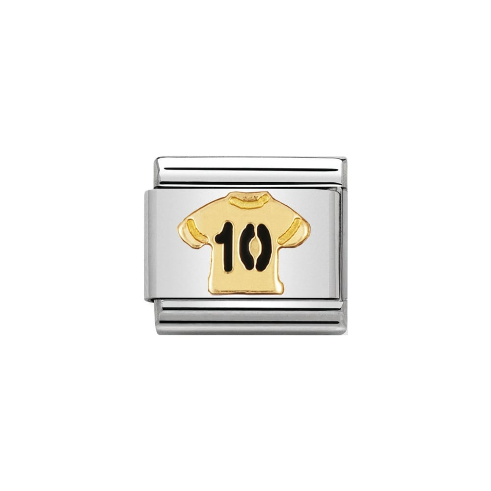 Nomination Classic Gold & Black Football Shirt Number 10 Charm - S&S Argento