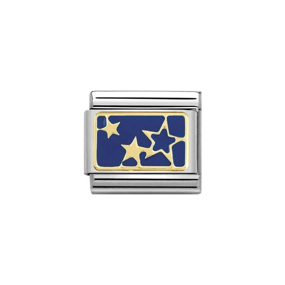 Nomination Classic Gold & Blue Stars Plate Charm - S&S Argento