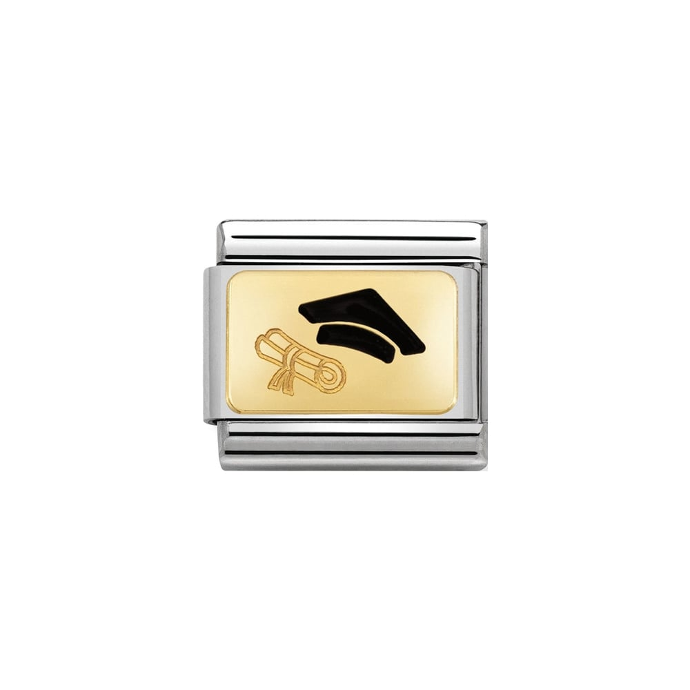Nomination Classic Gold Graduation Hat & Scroll (Diploma) Charm - S&S Argento