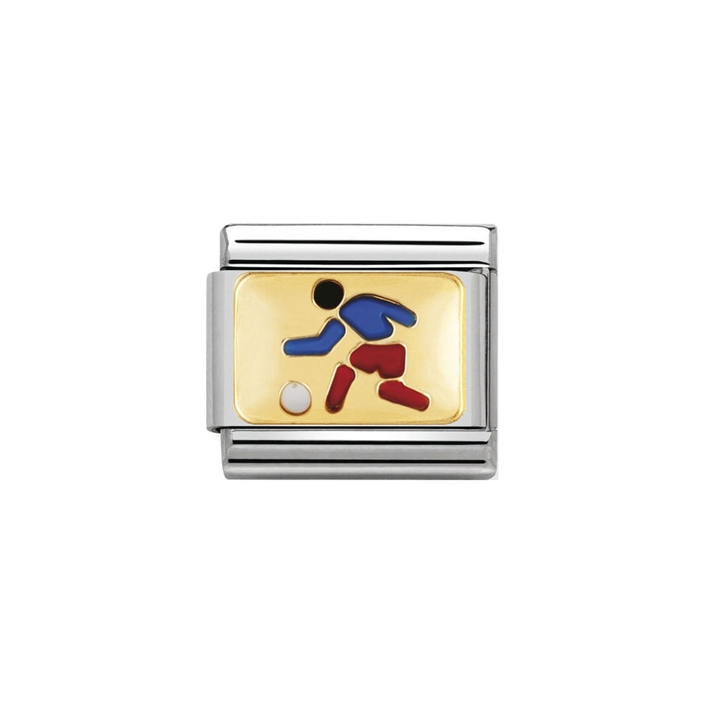 Nomination Classic Gold & Enamel Football Player Charm - S&S Argento