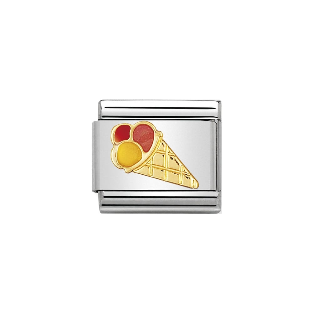 Nomination Classic Gold & Enamel Ice Cream Cone Charm - S&S Argento