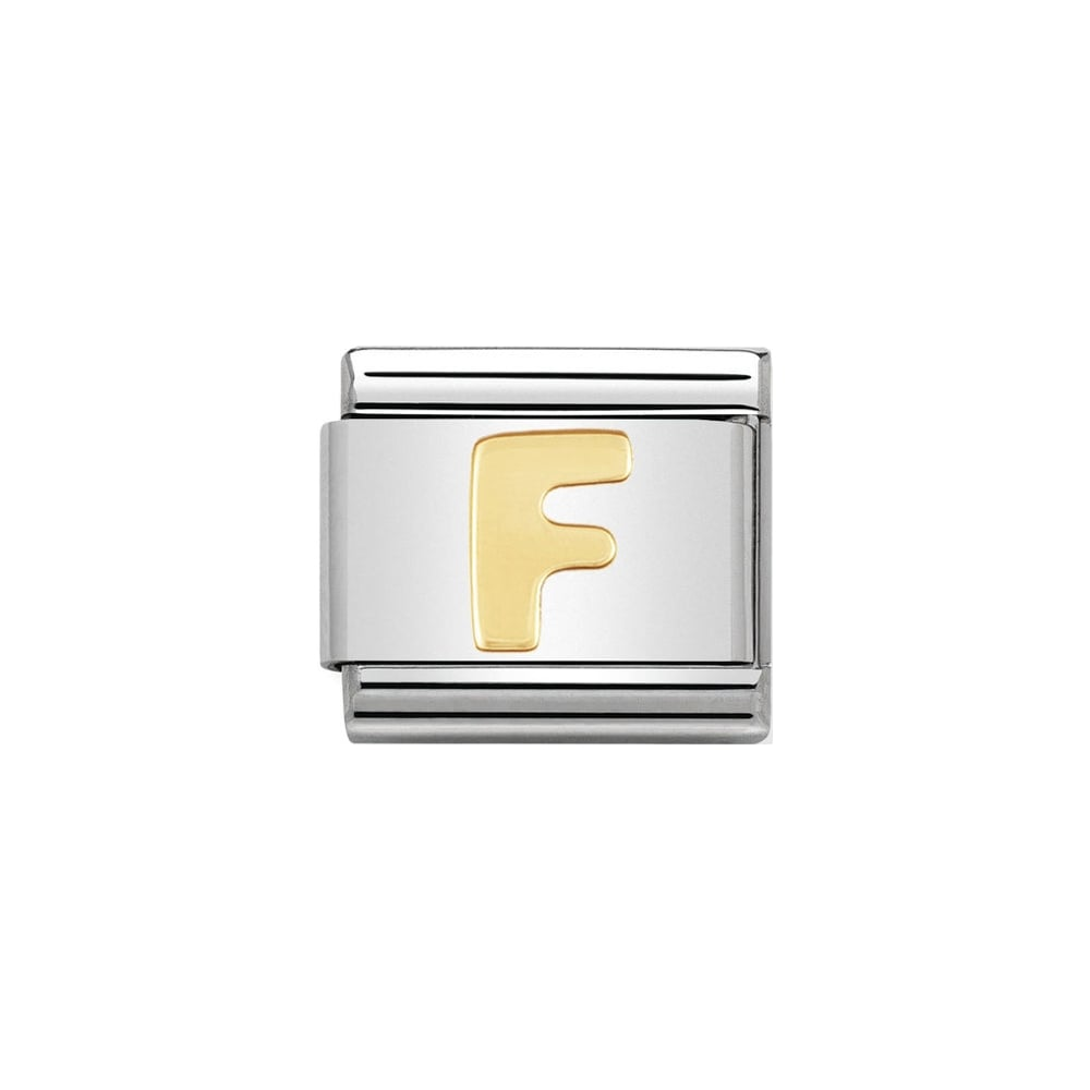 Nomination Classic Gold Letter F Charm - S&S Argento