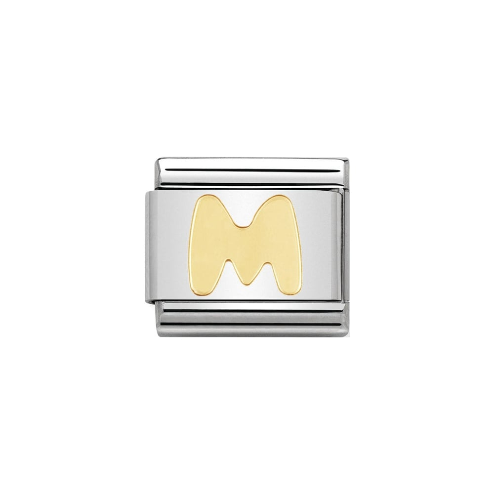 Nomination Classic Gold Letter M Charm - S&S Argento