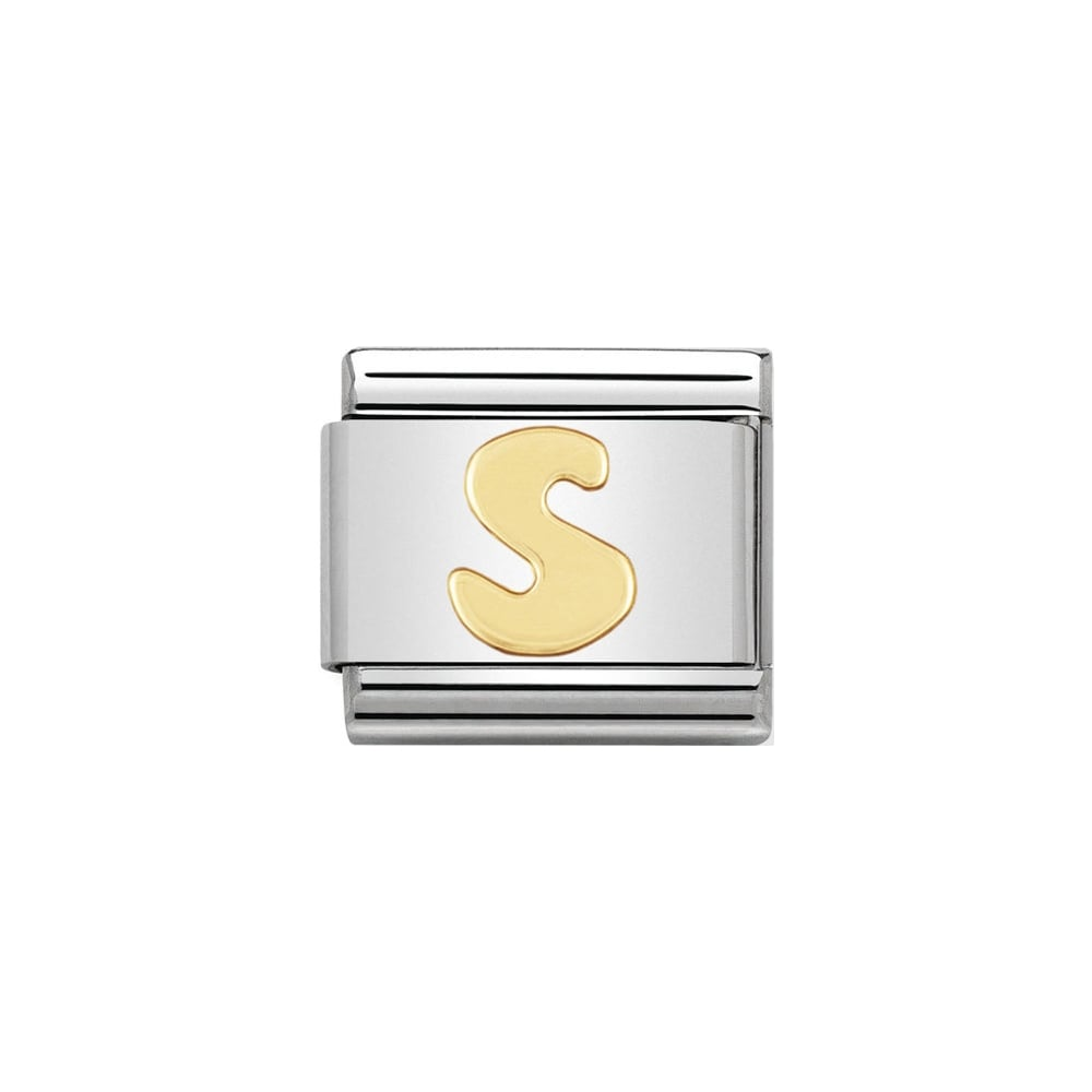 Nomination Classic Gold Letter S Charm - S&S Argento