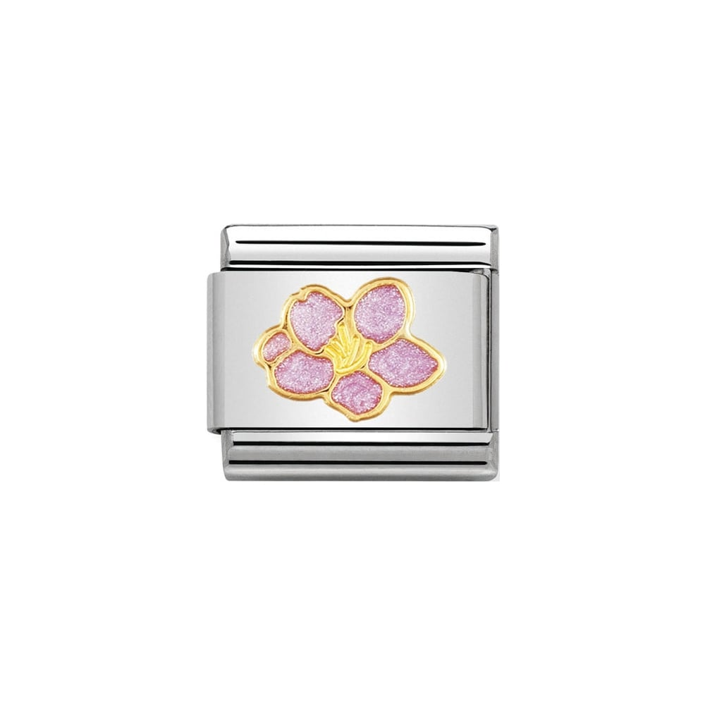 Classic Gold & Pink Hibiscus Flower Charm - S&S Argento