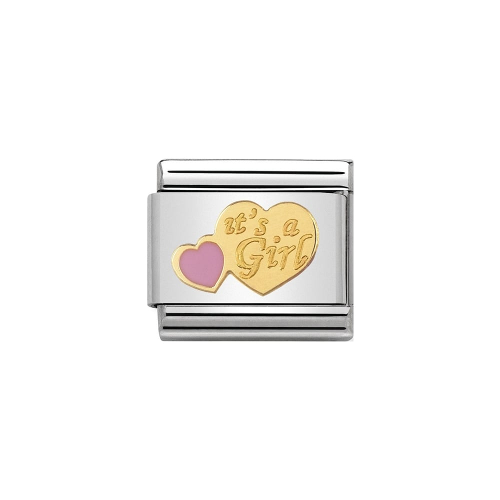 Nomination Classic Gold & Pink It's A Girl Charm - S&S Argento