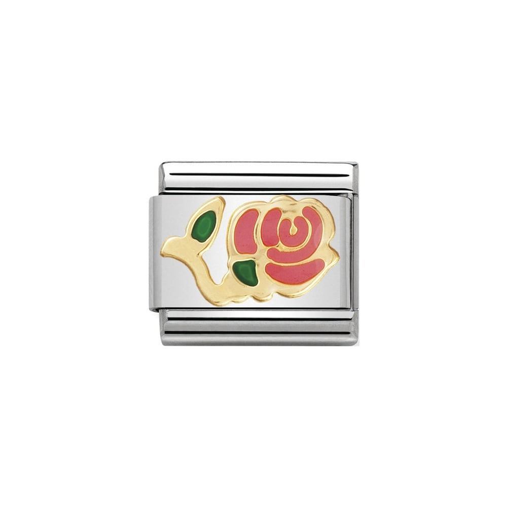 Classic Gold & Pink Stemmed Rose Charm - S&S Argento