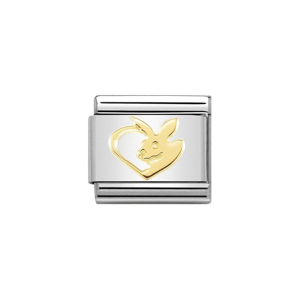 Nomination Classic Gold Rabbit In Heart Charm - S&S Argento