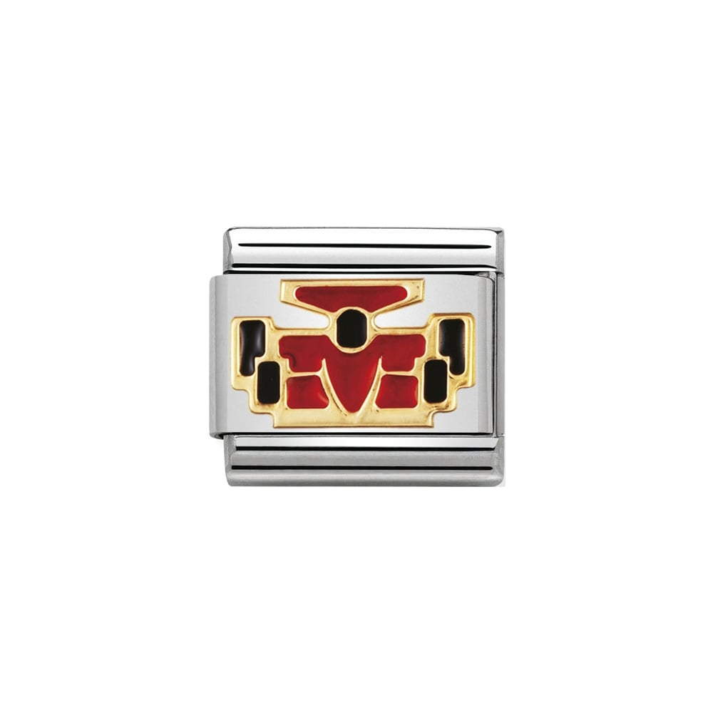 Nomination Classic Gold & Red Racing (Motorsport) Car Charm - S&S Argento