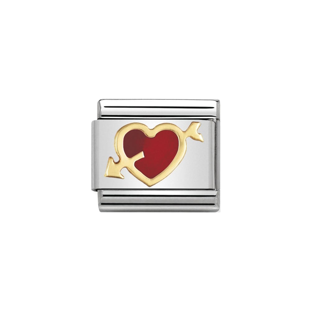 Nomination Classic Gold & Red Heart with Arrow Charm - S&S Argento