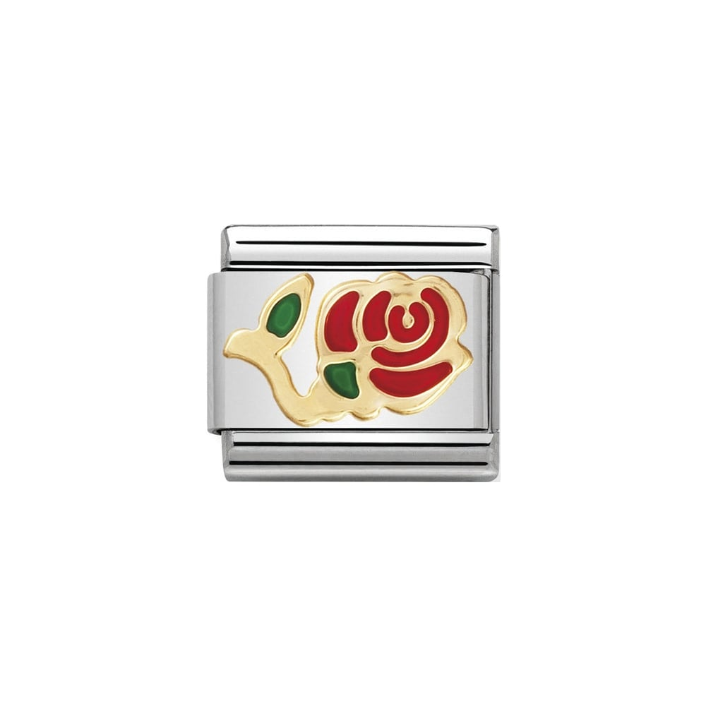 Classic Gold & Red Stemmed Rose Charm - S&S Argento