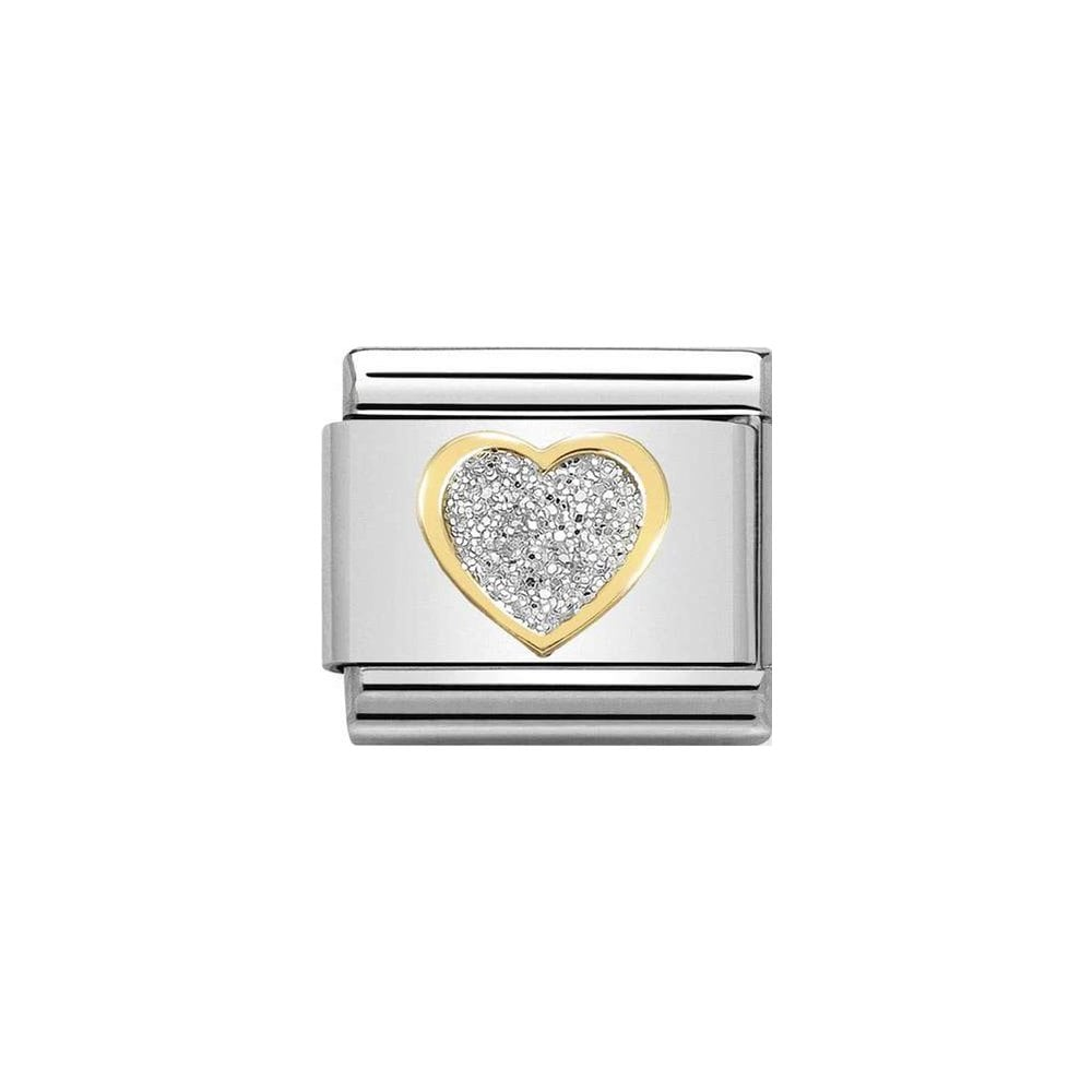 Nomination Classic Gold & Silver Glitter Heart Charm