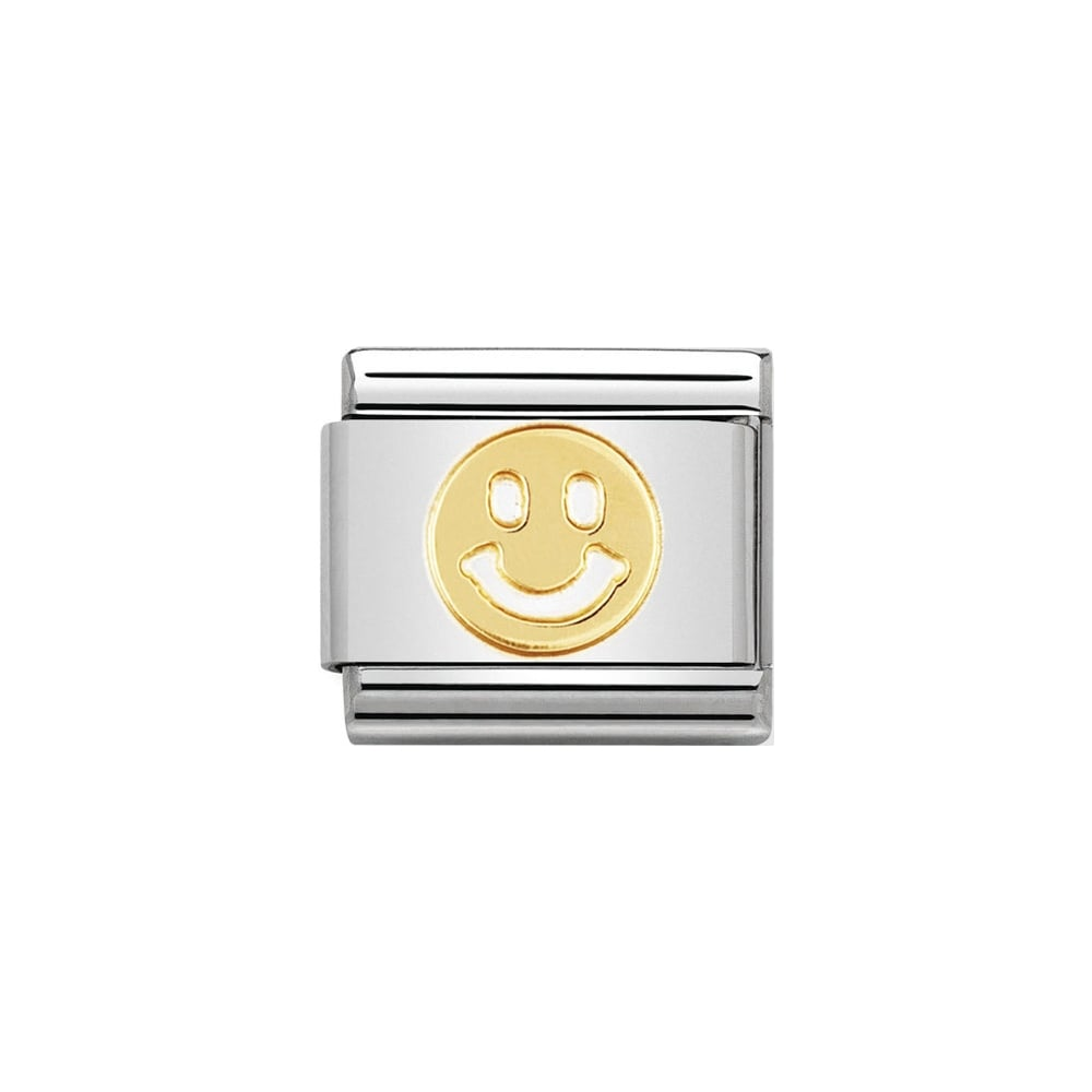 Nomination Classic Gold Smiley Face Charm - S&S Argento