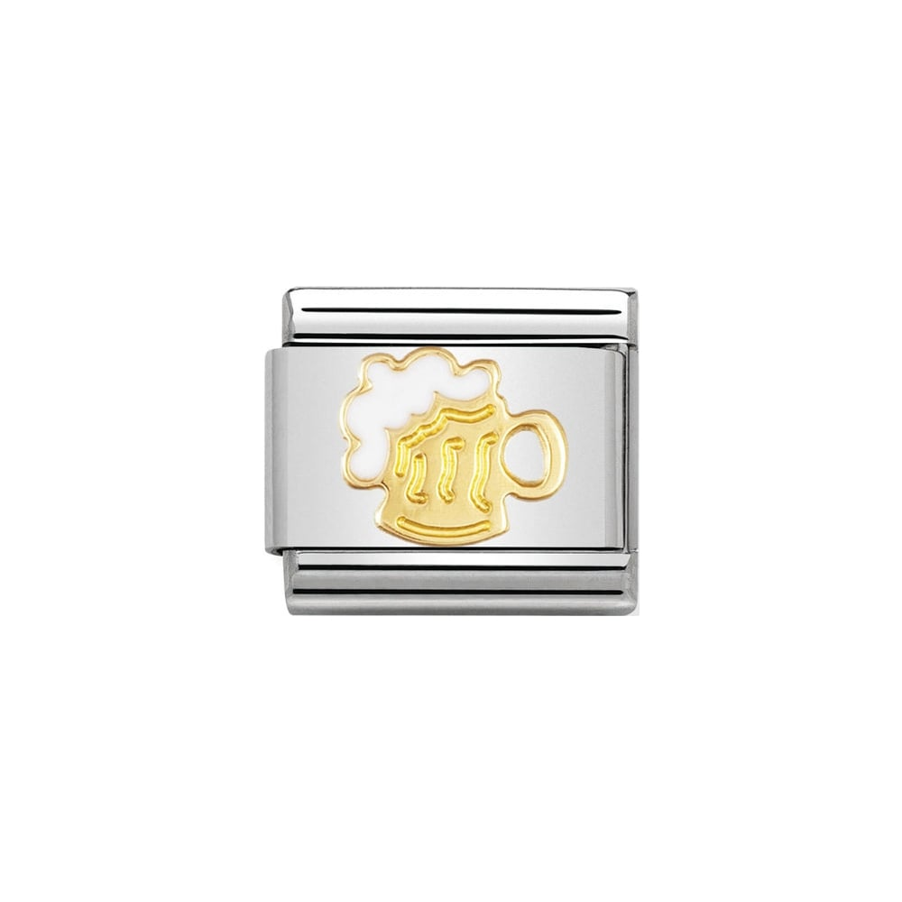 Nomination Classic Gold & White Beer Tankard Charm - S&S Argento