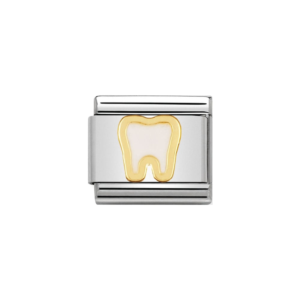 Nomination Classic Gold & White Tooth Charm - S&S Argento