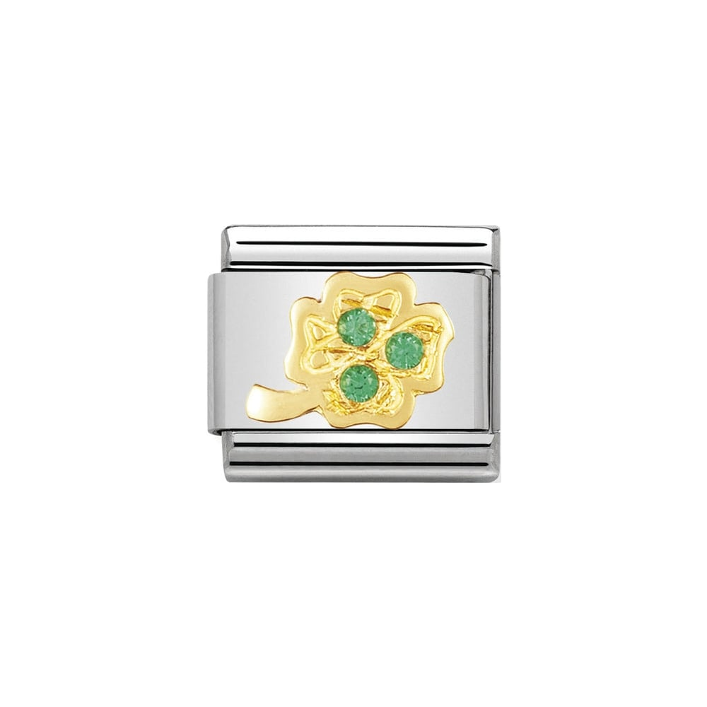 Nomination Classic Gold Green Four Lead Clover Cubic Zirconia Charm - S&S Argento