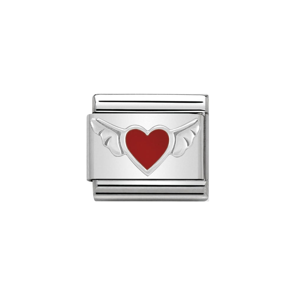 Nomination Classic Silver Red Heart With Wings Charm - S&S Argento