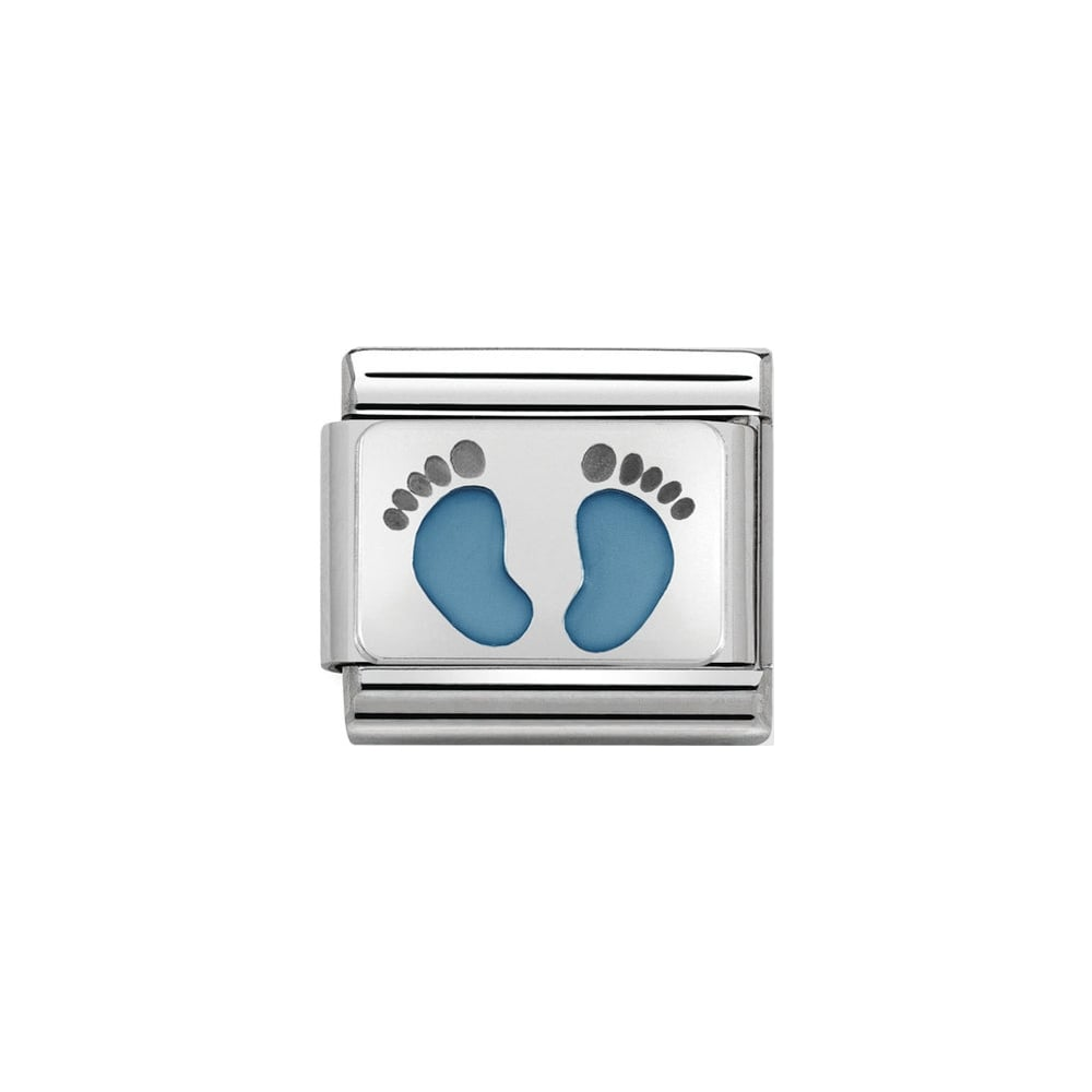 Nomination Classic Silver Light Blue Footprints Charm - S&S Argento