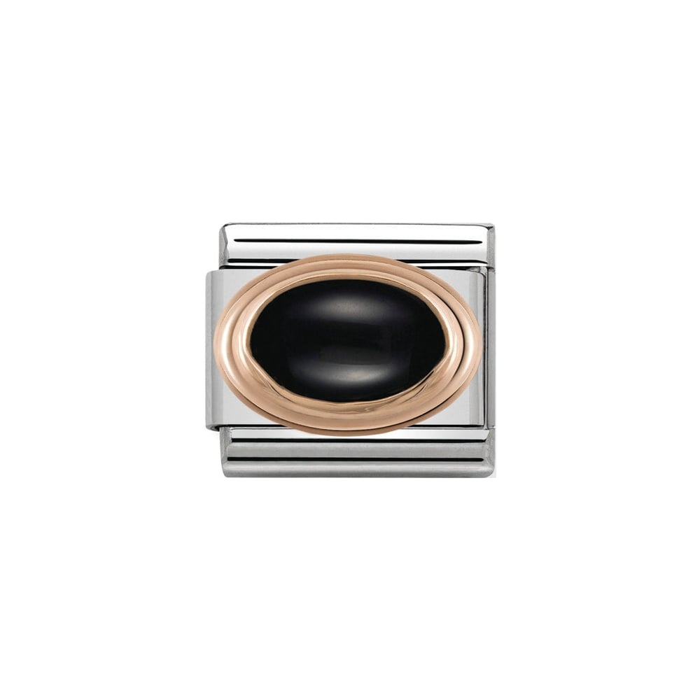 Nomination Classic Rose Gold Black Agate Charm - S&S Argento