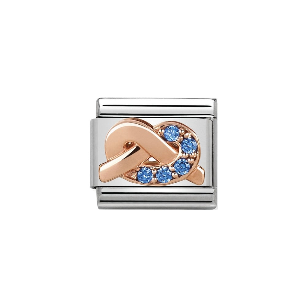 Nomination Classic Rose Gold & Blue CZ MOTHER SON Knot Charm - S&S Argento