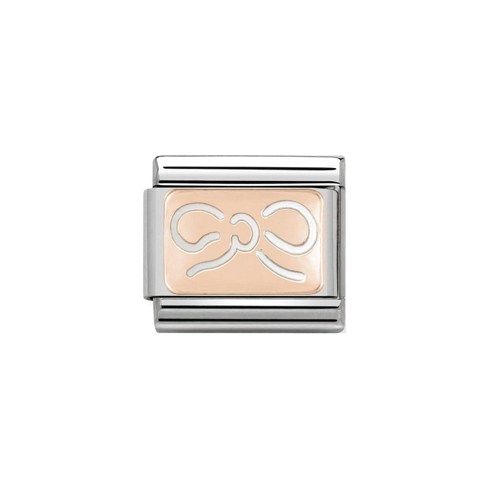 Nomination Classic Rose Gold Bow Plate Charm - S&S Argento