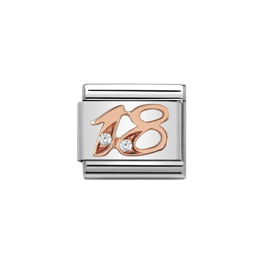 Nomination Classic Rose Gold & CZ 18 Charm - S&S Argento