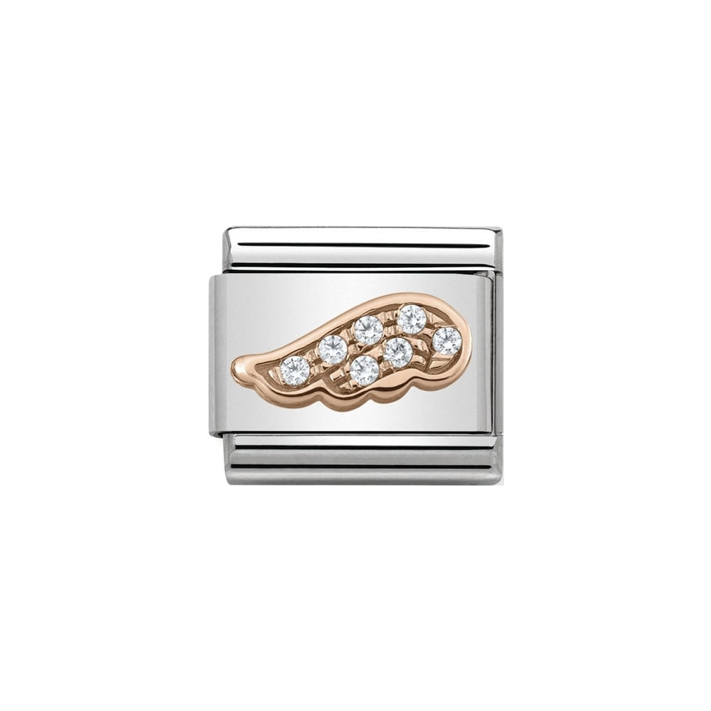 Nomination Classic Rose Gold CZ Angel Wing Charm - S&S Argento