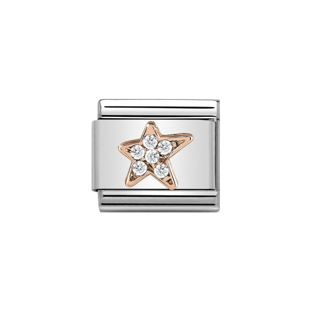 Nomination Classic Rose Gold CZ Asymmetric Star Charm - S&S Argento