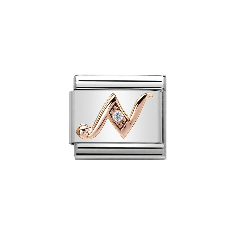 Nomination Classic Rose Gold & CZ Letter N Charm - S&S Argento