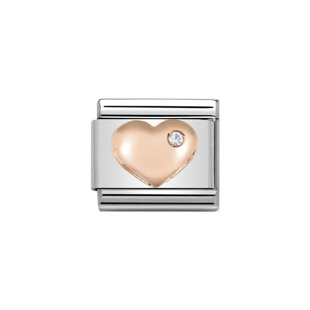 Nomination Classic Rose Gold CZ Raised Heart Charm - S&S Argento