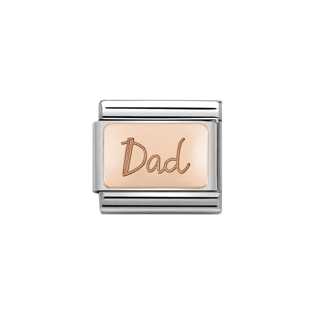 Nomination Classic Rose Gold Dad Plate Charm - S&S Argento