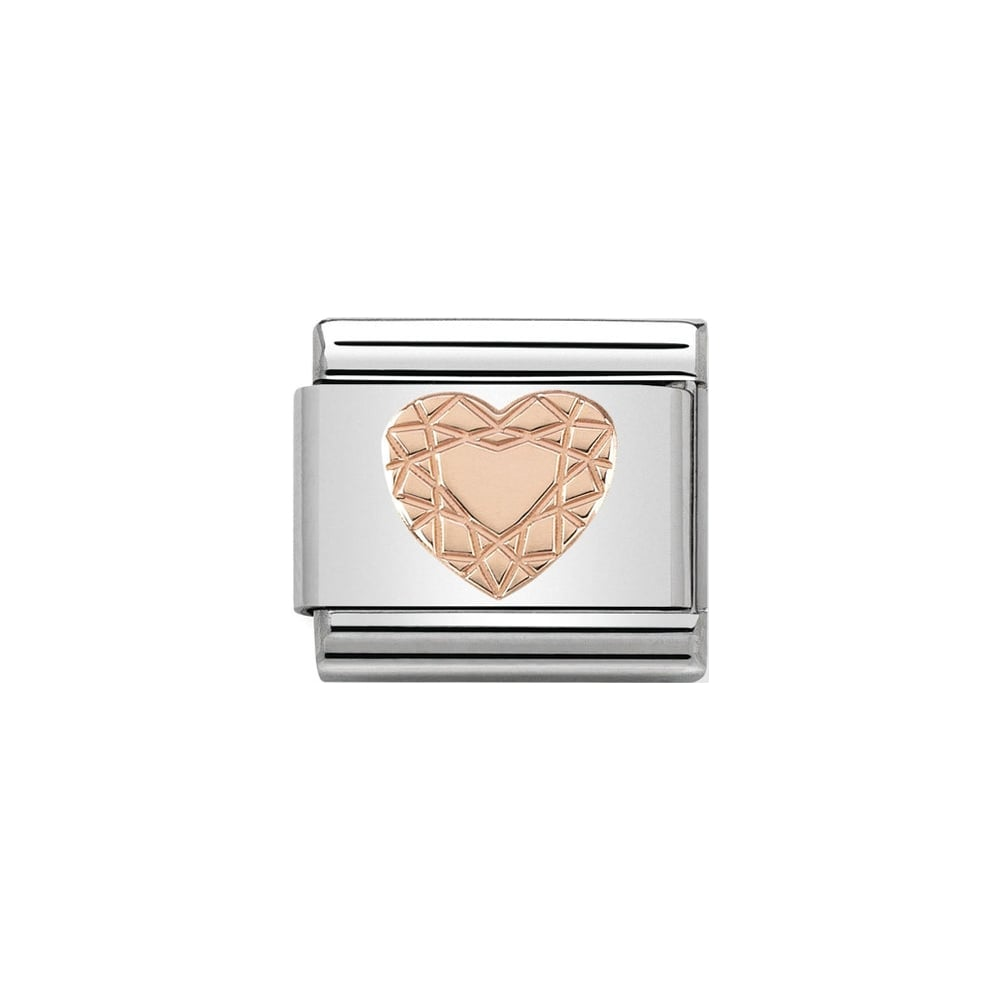 Nomination Classic Rose Gold Diamond Heart Charm - S&S Argento
