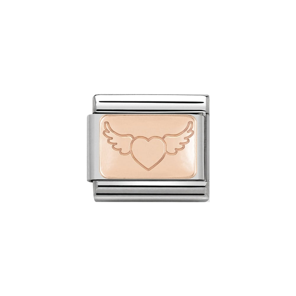 Nomination Classic Rose Gold Flying Heart Plate Charm - S&S Argento