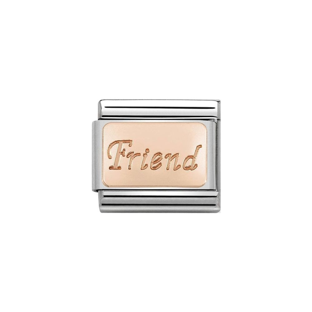 Nomination Classic Rose Gold Friend Plate Charm - S&S Argento